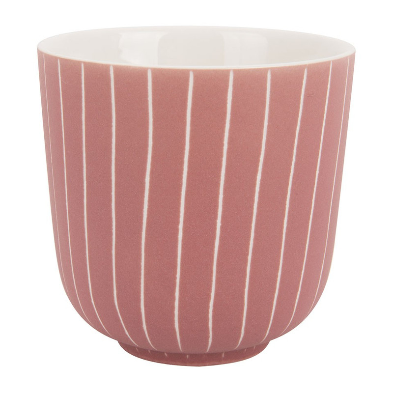 Beker mat met streep - 25 cl - roze/grijs