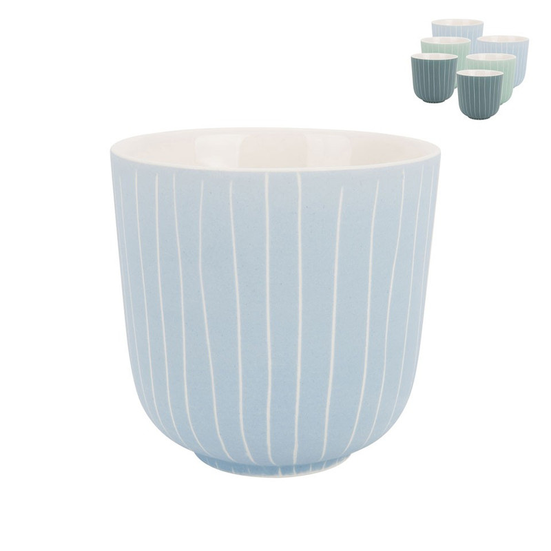 Beker mat met streep - 25 cl - blauw/turquoise