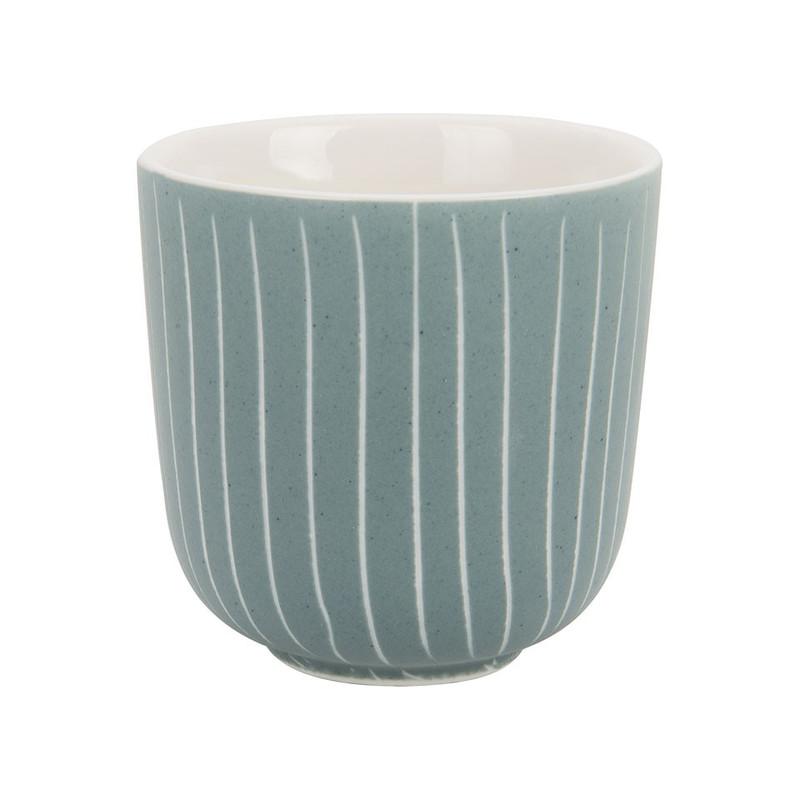 Beker mat met streep - 12 cl - blauw/turquoise