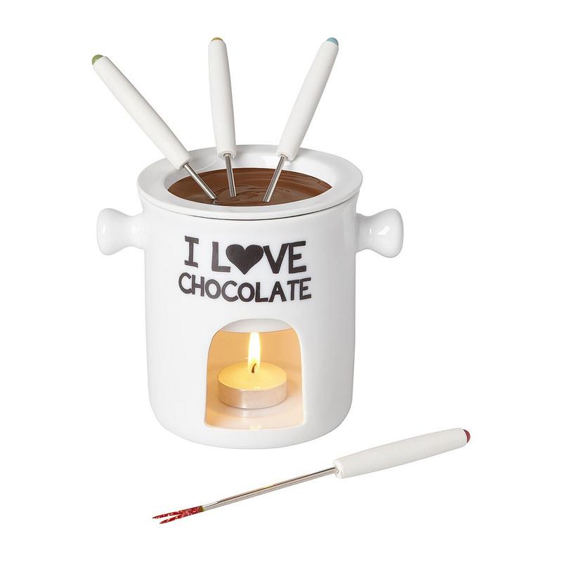 Chocoladefondue met vier vorkjes wit