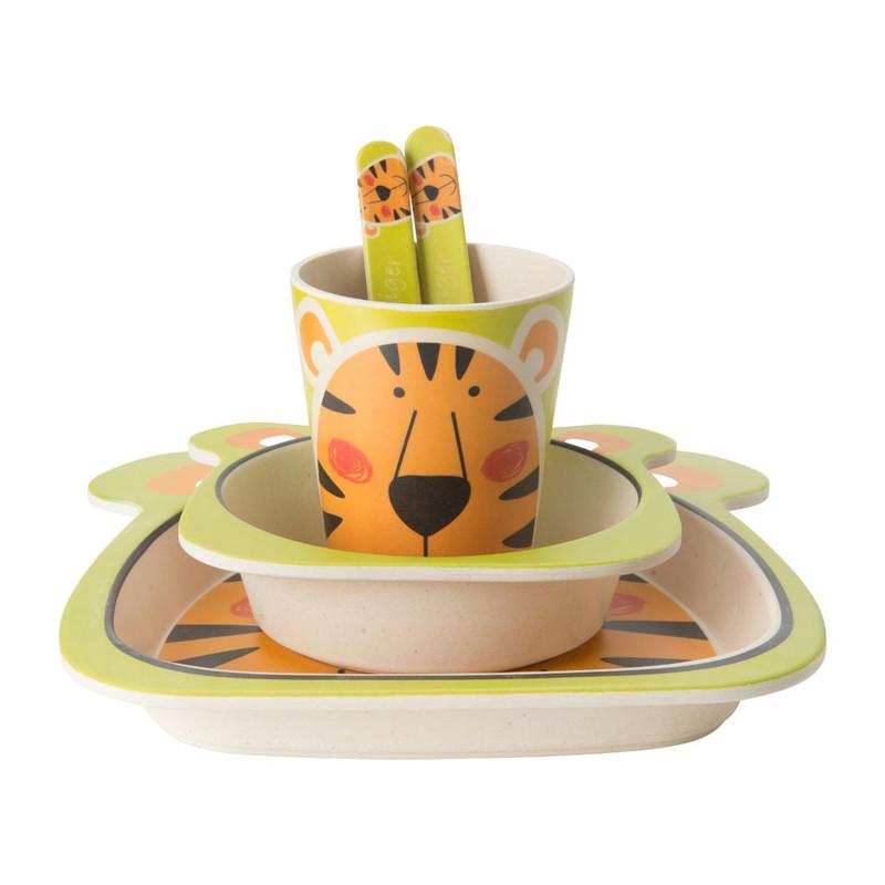 Kinderservies bamboe - tijger - 5-delig