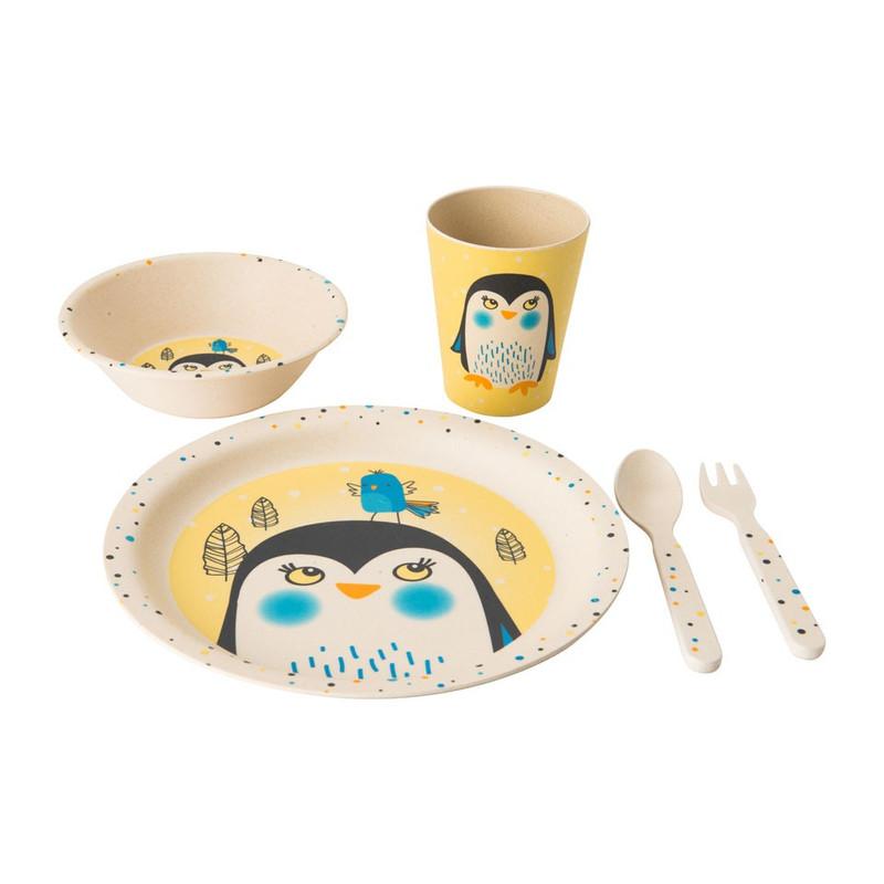 Kindereetset bamboe - pinguïn - 5-delig