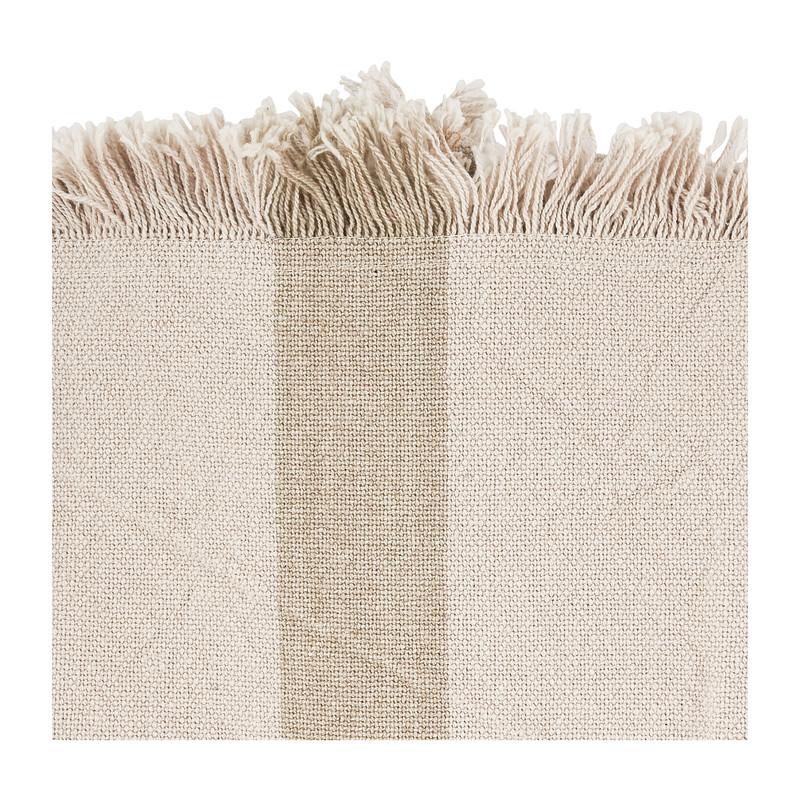 Placemat met fringes - beige met donkere streep - 33x48 cm