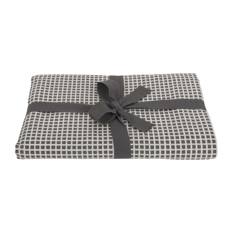 Tafelkleed met blokjes print - grijs - 140x200 cm