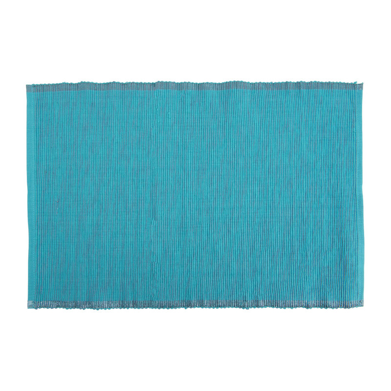 Placemat rand lurex  - 33x48 cm - turquoise