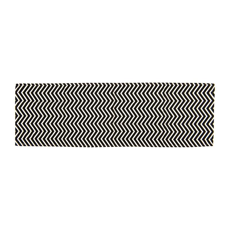 Tafelloper grafisch - zwart/wit - 150x45 cm