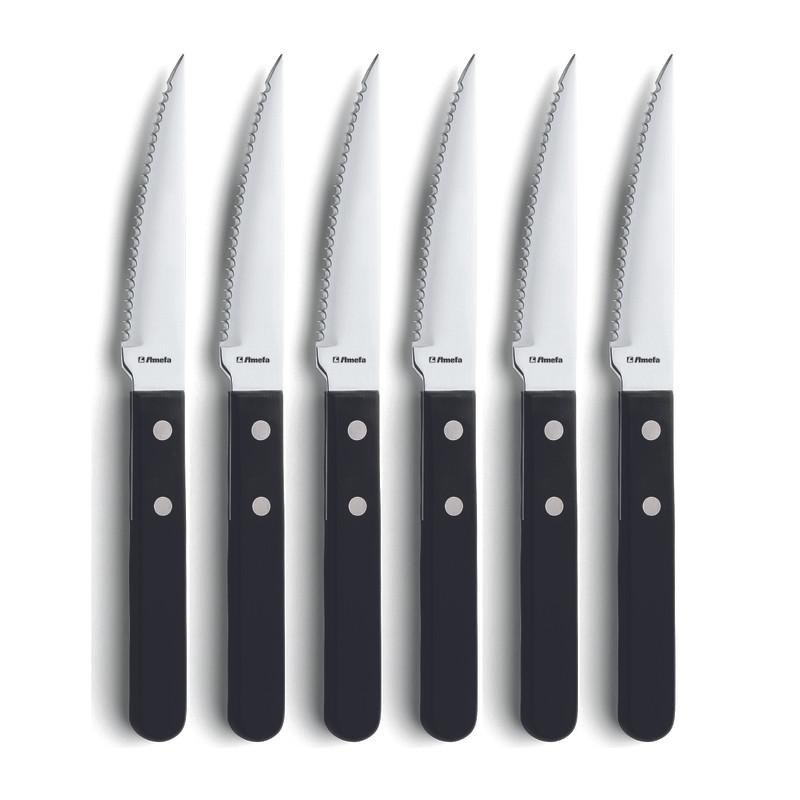 Steakmessen - zwart - 6-delig