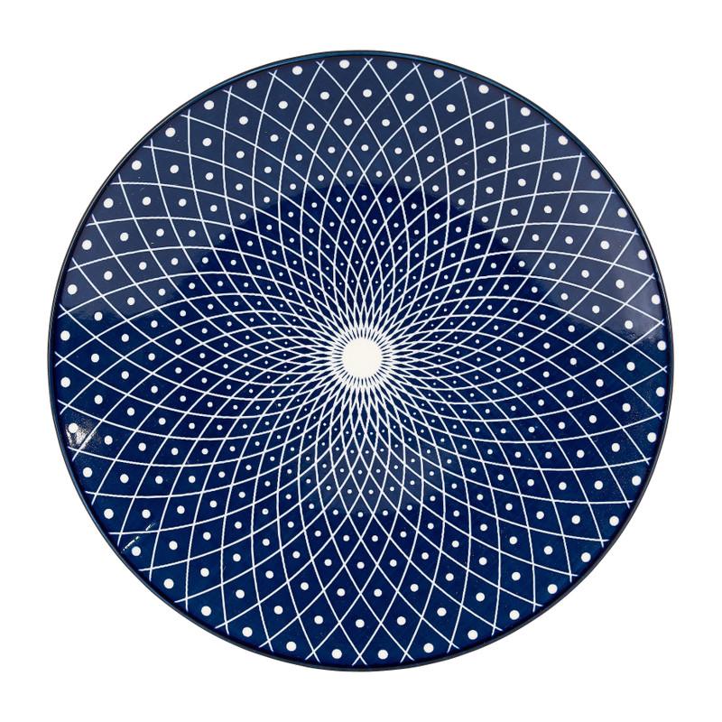 Ontbijtbord blue print - diverse varianten - ø21 cm