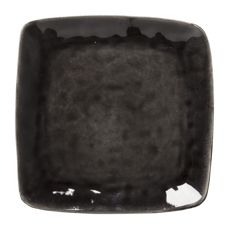 Vierkant bord Toscane - zwart - 25 cm