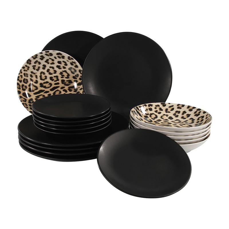 Serviesset zwart luipaard - 18-delig