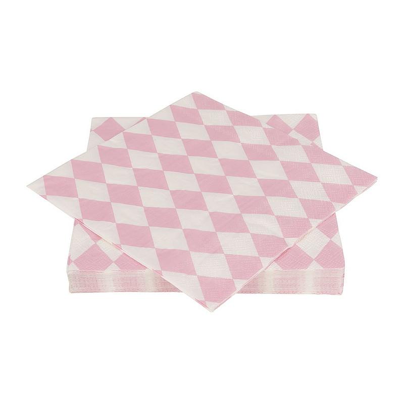 Servetten pastelkleuren - ruit roze/wit  - set van 20