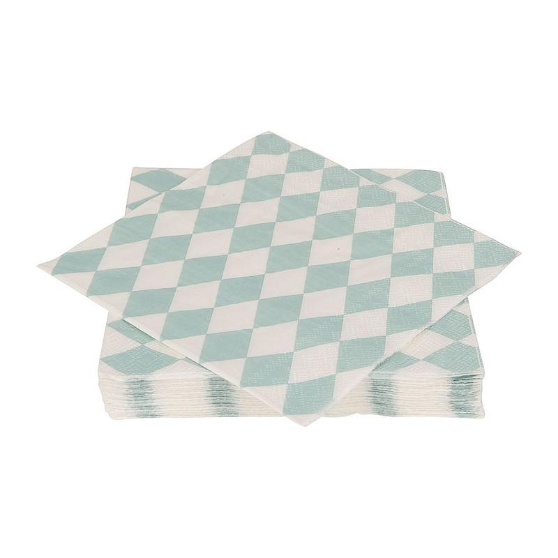 Servetten pastelkleuren - ruit mint groen/wit - set van 20