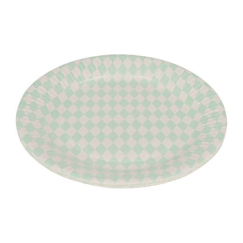 Bordjes pastelkleuren 22 cm - ruit mint groen - set van 8
