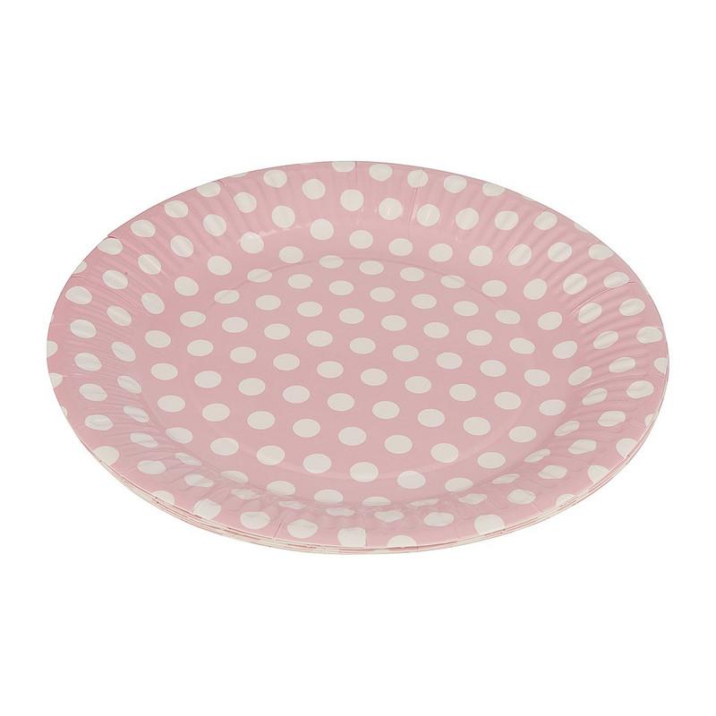 Bordjes pastelkleuren 22 cm - roze - set van 8