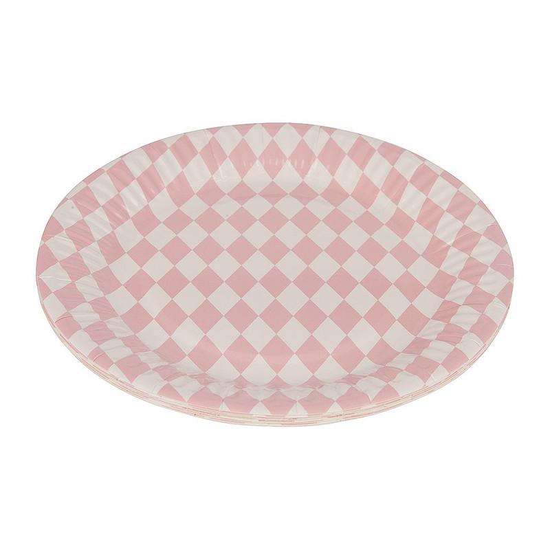 Bordjes pastelkleuren 18 cm - ruit roze - set van 8