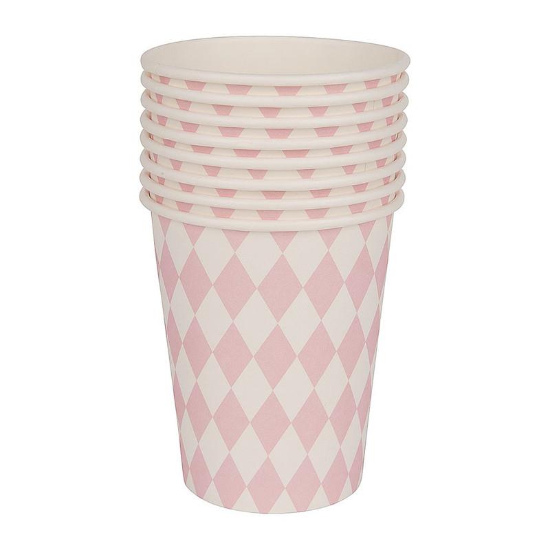 Bekertjes pastelkleuren - ruit roze - set van 8