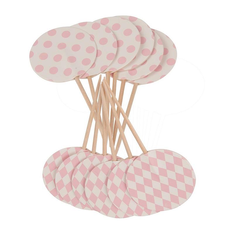 Prikkertjes pastelkleuren - roze - set van 12
