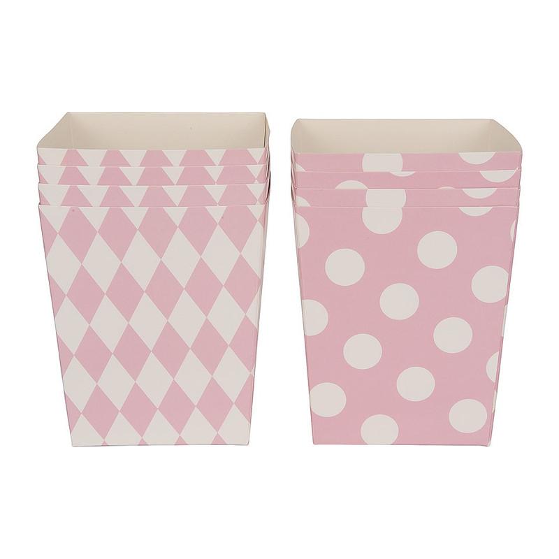 Popcornbakjes pastelkleuren - roze - set van 8