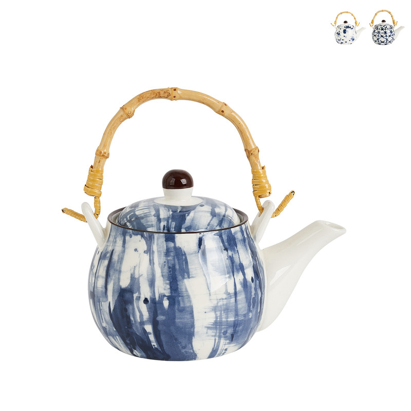 Theepot indigo blue - diverse varianten - blauw/wit