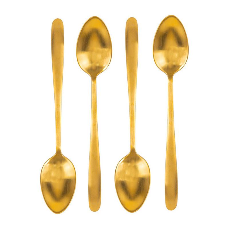 Theelepeltjes goudkleurig - 4 stuks