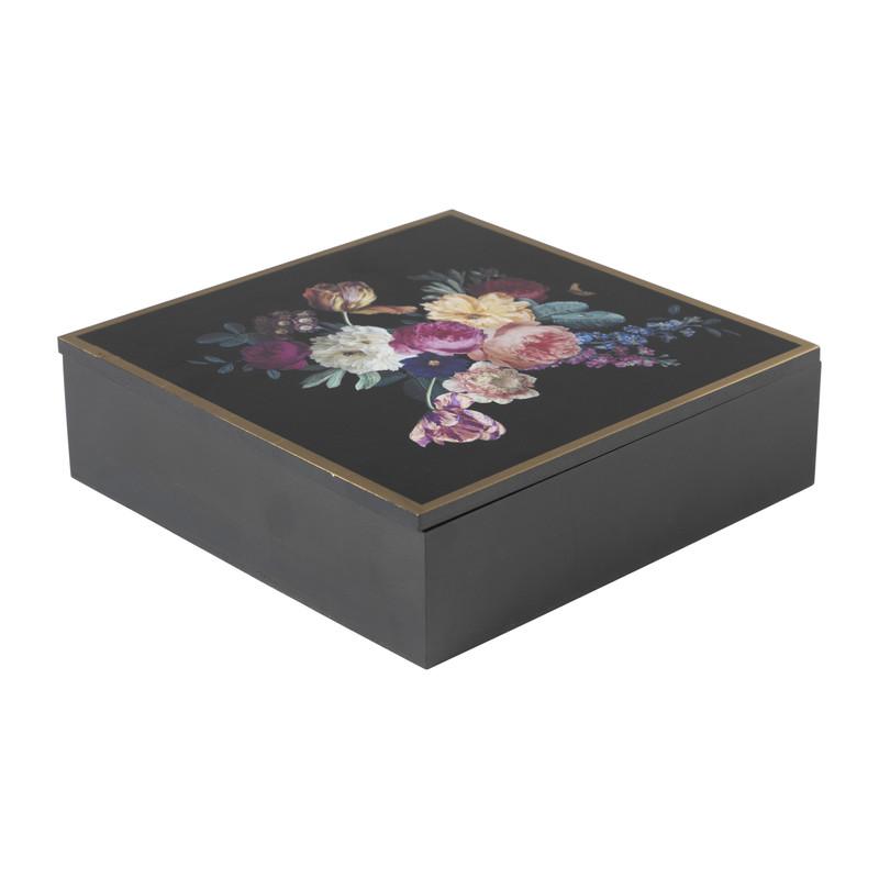 Theebox flowers - zwart - 24x24x7 cm