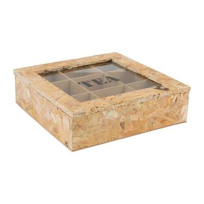 Theedoos onbewerkt hout - 9-vaks