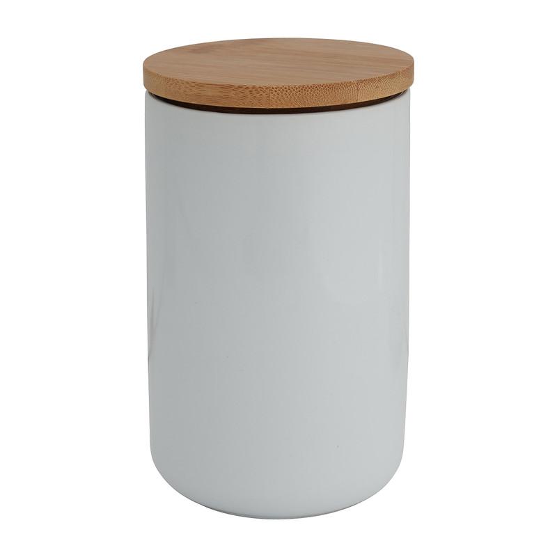 Voorraadpot bamboe - wit - 900 ml