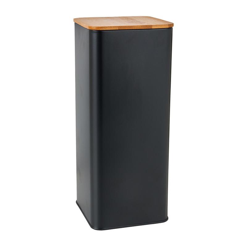 Voorraadblik met bamboe deksel - 11x11x27 cm