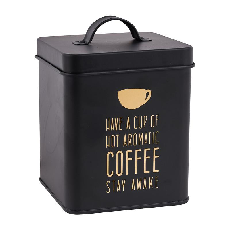 Voorraadblik coffee zwart goud 11x11x14 cm