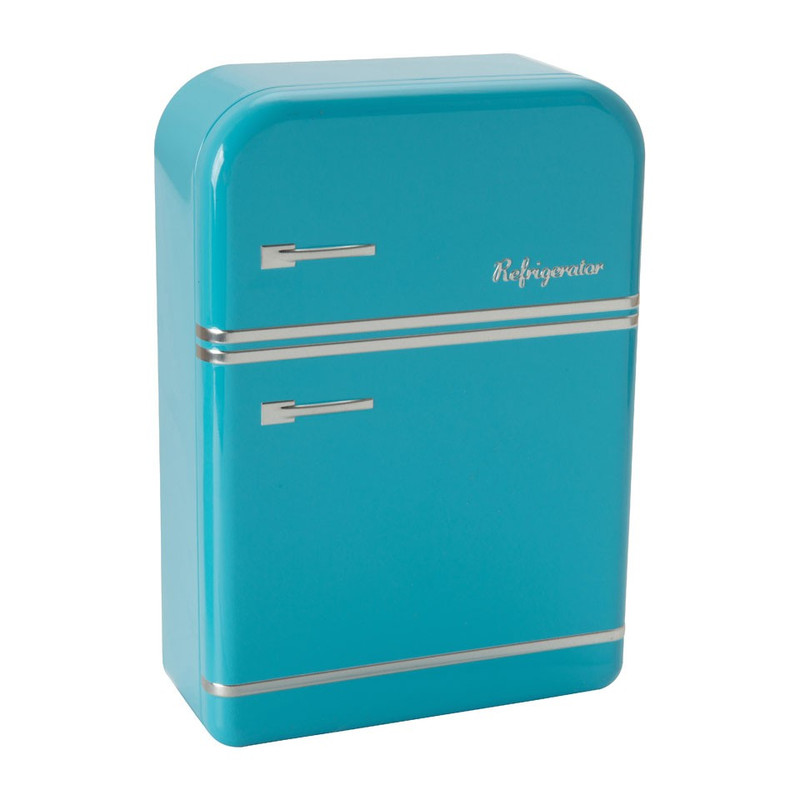 Blik koelkast - 26x18x7 cm - blauw