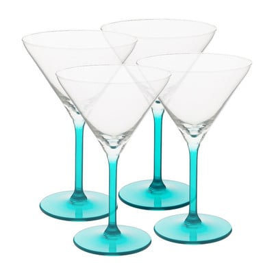 Cocktailglas colourful - 26 cl - turquoise - set van 4