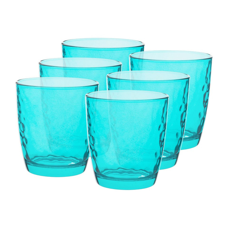 Sapglas colourful - 32 cl - turquoise - set van 6
