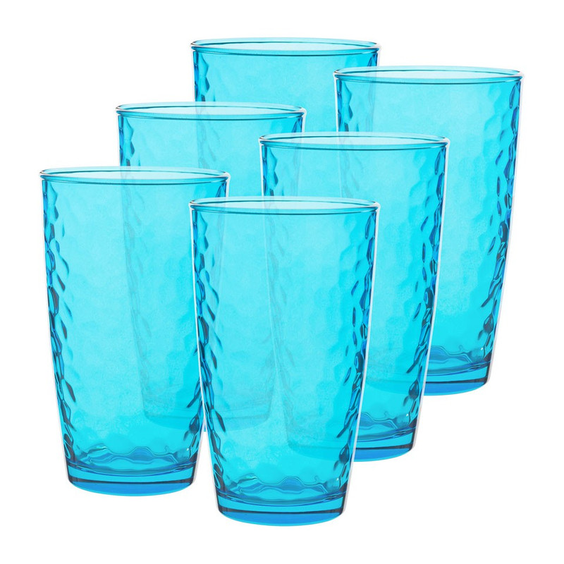 Longdrinkglas colourful - 49 cl - blauw - set van 6