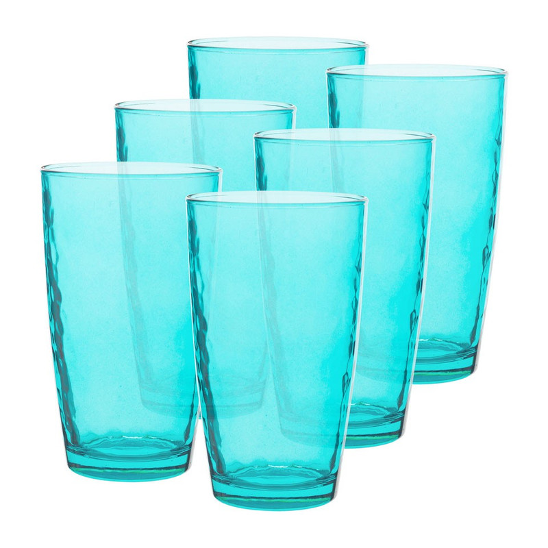 Longdrinkglas colourful - 49 cl - turquoise - set van 6