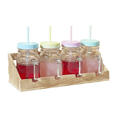 Mason jar set in houten rekje – 40 cl - set van 4