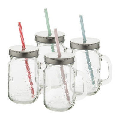 Mason Jar Summer party glas met rietje - 45 cl