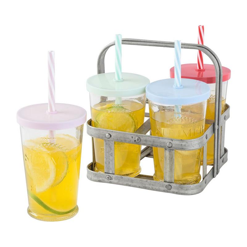 Glas klein summer party - set van 4