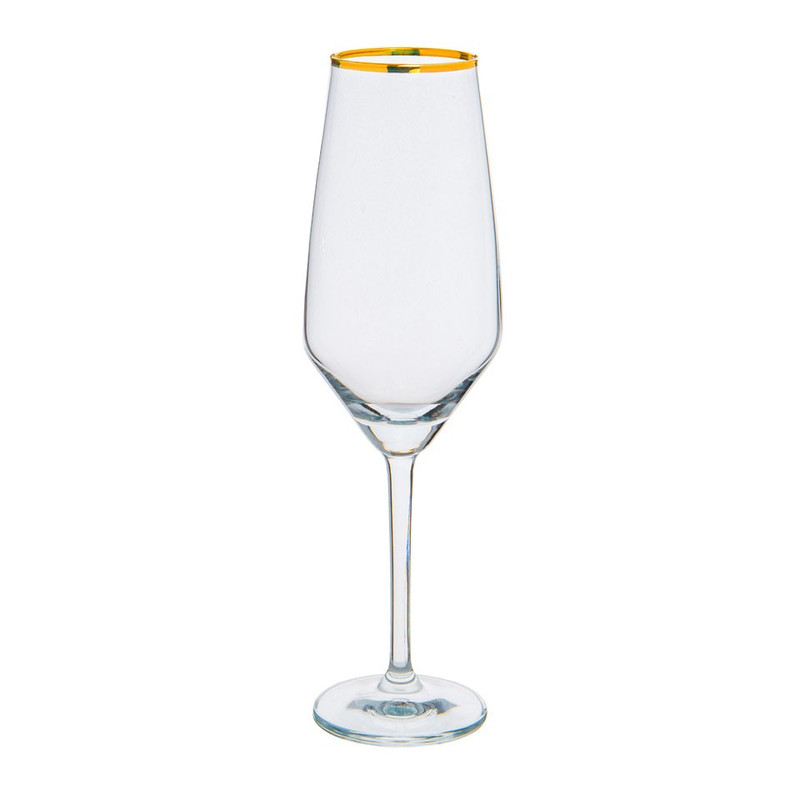 Champagne flute - rand goud - 25 cl