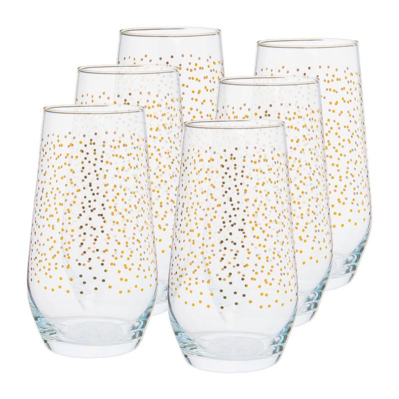 Waterglas stip - goud - 40 cl