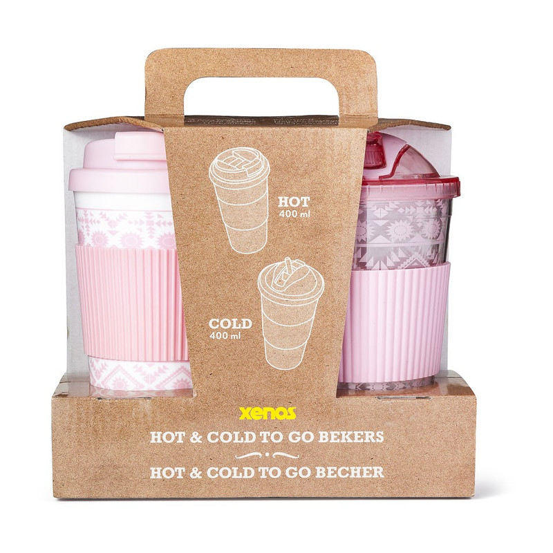 Giftset hot&cold drinks - roze - set van 2