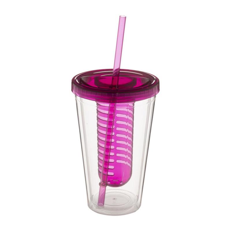 Drinkbeker met infuser - 500 ml - roze