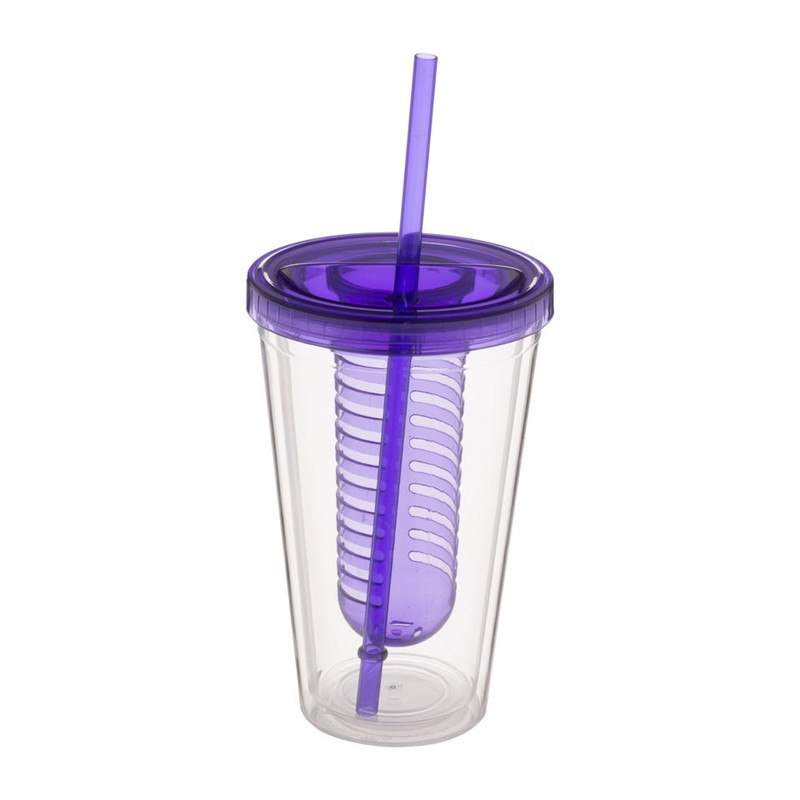 Drinkbeker met infuser - 50 cl - paars