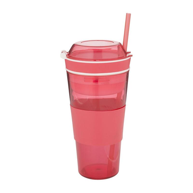 Snack drinkbeker met rietje - 50 cl - rood