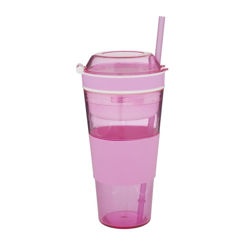Snack drinkbeker met rietje - 50 cl - roze