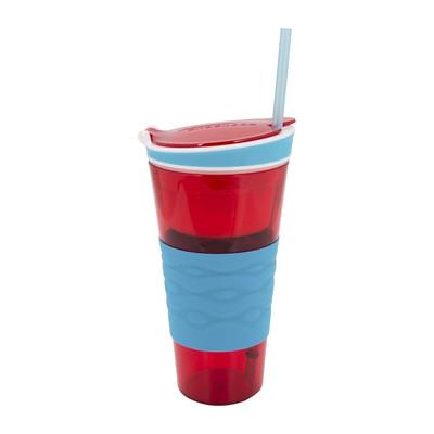 Snackeez snackbeker - 45 cl - rood/blauw
