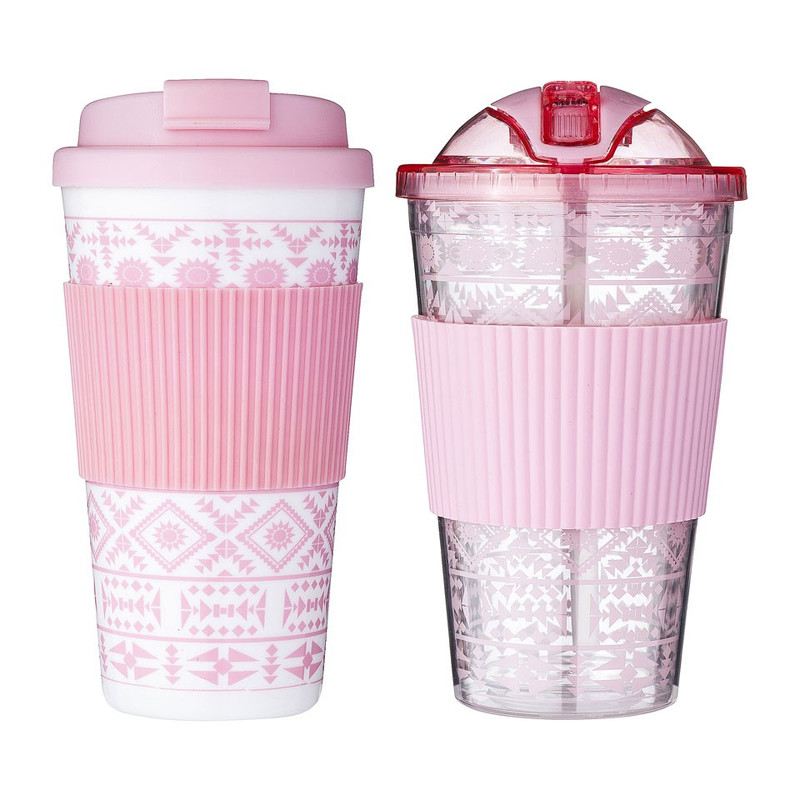 Giftset hot & cold to go drinks - roze - set van 2