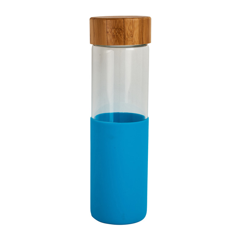 Drinkfles - bamboe dop - blauw
