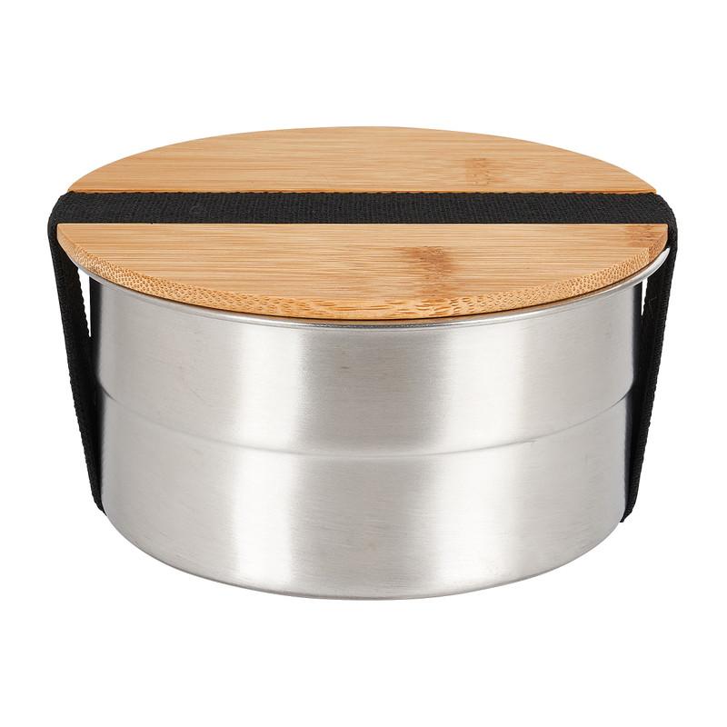 Lunchbox - rvs/bamboe - ø13 cm