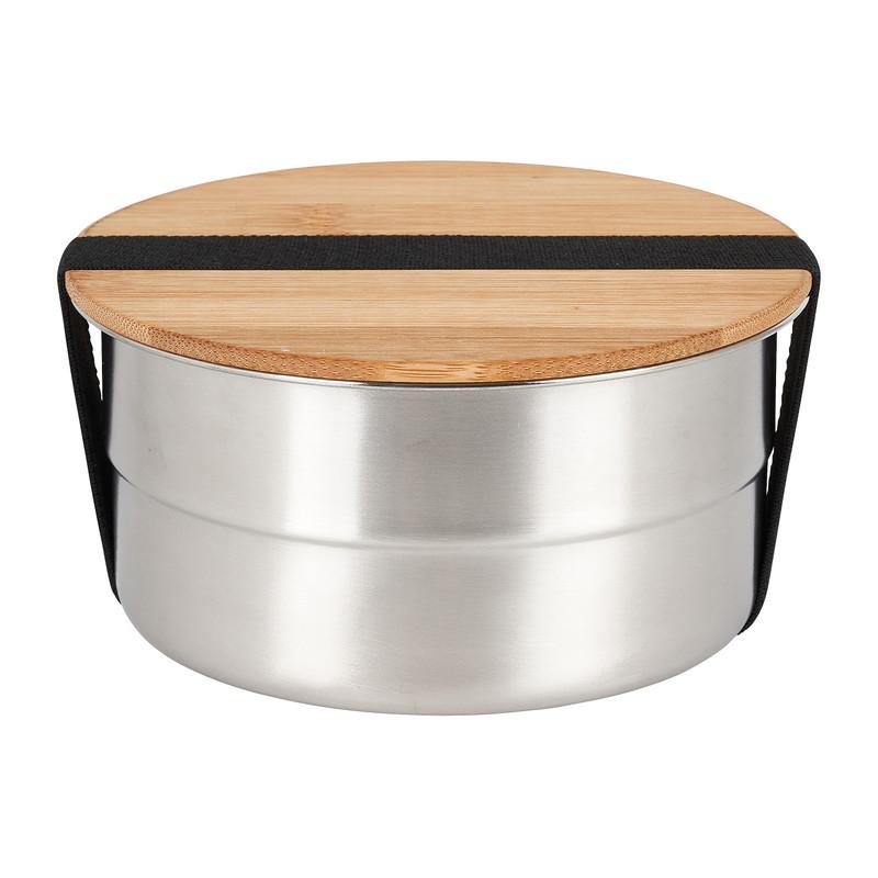 Lunchbox - rvs/bamboe - ø15 cm