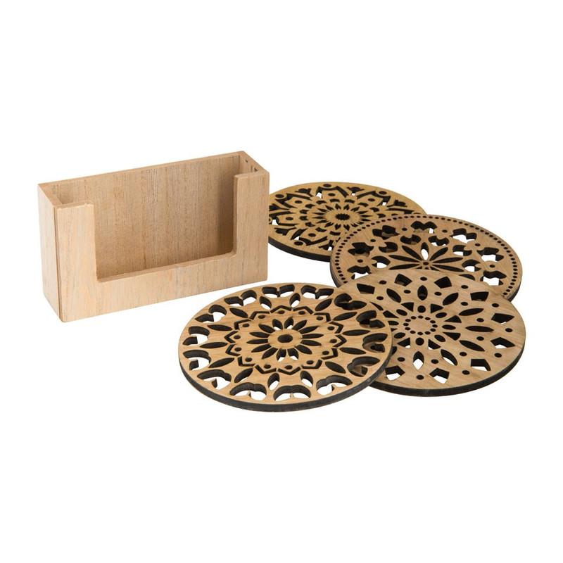 Onderzetter hout deco - set van 4
